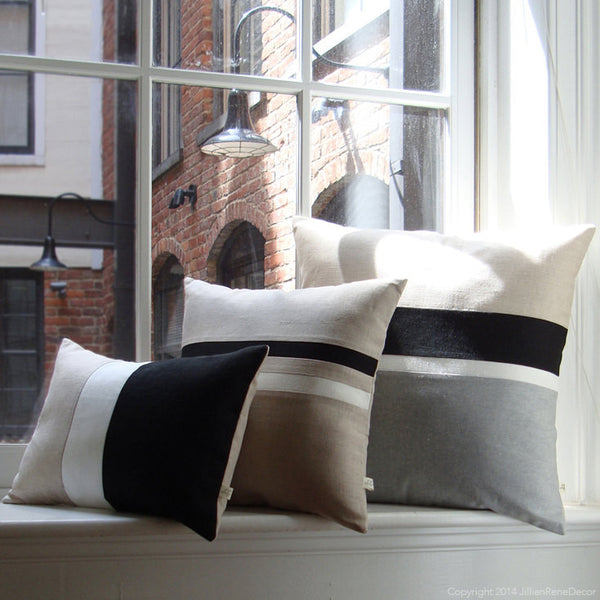 Chambray Striped Pillow Set of 3 - Black