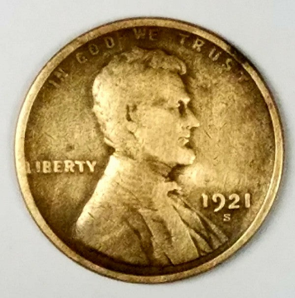 1921, 1921-S, Lincoln, Wheat Cent, Penny, Key Date, Copper, Rare, Collect, Vintage