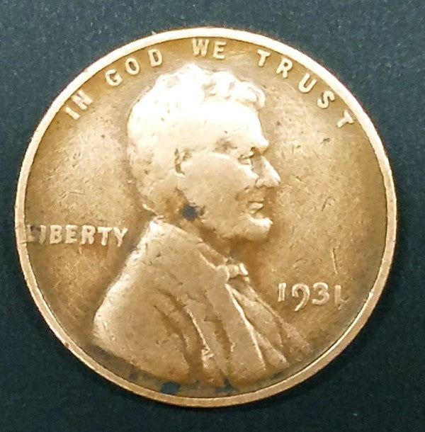1931, 1931-P, Lincoln, Wheat Cent, Penny, Key Date, Copper, Rare, Collect, Vintage