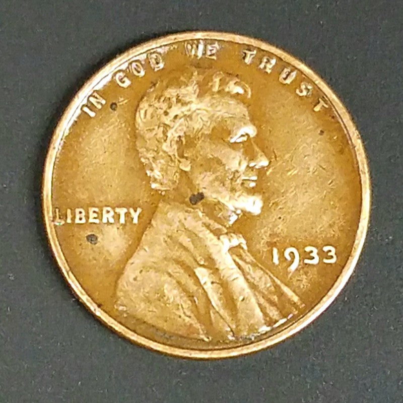 1933, 1933-P, Lincoln, Wheat Cent, Penny, Key Date, Copper, Rare, Collect, Vintage