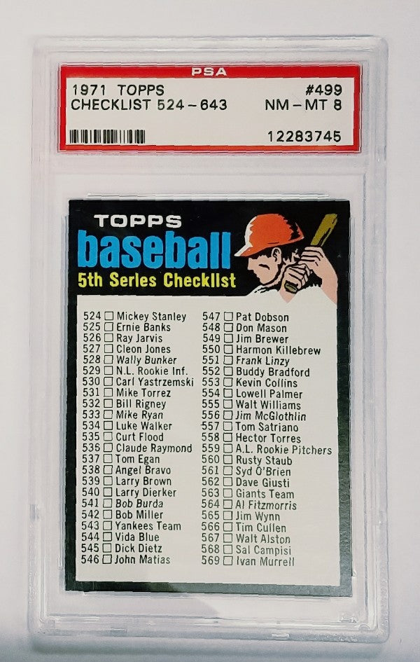 Checklist, 5th Series, Set Break, 1971, Topps, Glossy, High Numbers, PSA, NM-Mint, Graded