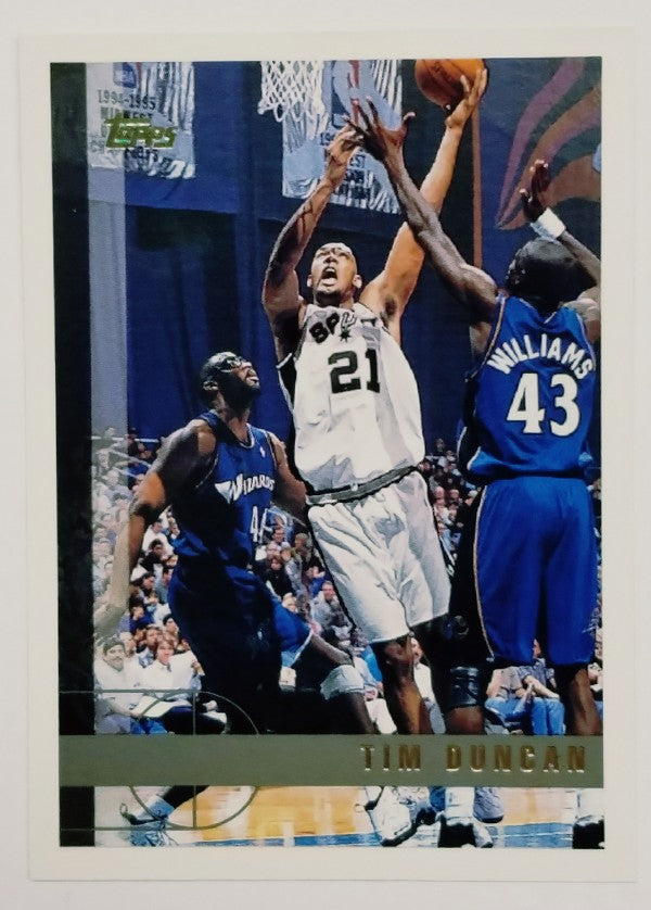 Tim Duncan, Spurs, Wake Forest, Rookie Card, Supersonics, Golden State Warriors, Finals, Basketball, NBA, Topps
