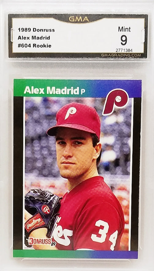 Details About Graded 9 Mint Rare Alex Madrid 1989 Donruss 604 Rookie Card 1988 Leaf Brand
