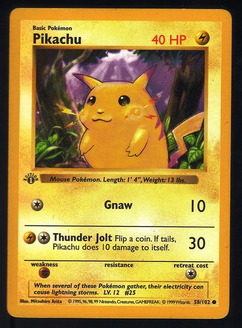Pokemon, Pikachu, 1st Edition, First, Shadowless, Base Set