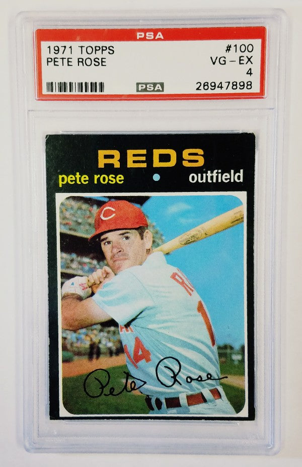 Pete Rose, Reds, Cincinnati, Graded, PSA, 1971, Topps, Hits, Cobb