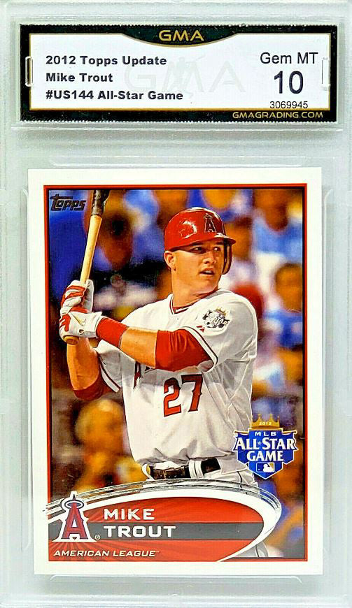 Details About Graded 10 Mike Trout Rookie 2012 Topps Update Us144 Angels Mvp Hot Card