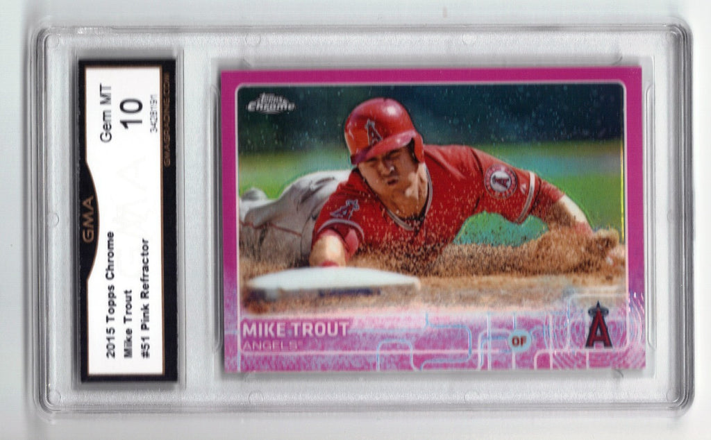 2015 Topps Chrome 51 Mike Trout Pink Refractor Extremely Rare Variation