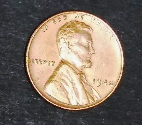 1940 Lincoln Wheat Cent w/AU+ BU Detail. Original Luster, Sharp Coin! Get it, Grade it!, CardboardandCoins.com