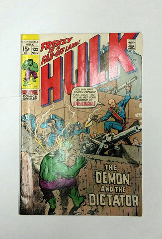 Incredible Hulk # 133, Marvel Comics Nov 1970 Dictator Draxon, Stan Lee, Hi-Gloss Cover, Original Owner, CardboardandCoins.com