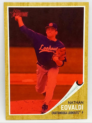 NATHAN EOVALDI ROOKIE, RARE RED TINT! 2011 TOPPS HERITAGE MINORS BASEBALL #107 RED SOX