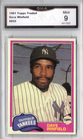 1981 Topps Traded #855 Dave Winfield, Yankees, Grade 9 MINT, CardboardandCoins.com