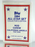 Sport_Baseball, Company_Topps, Company_ALL, Team_California Angels, Graded-by_CardboardandCoins, Carew, Rod, Angels, California, Glossy, All-Star, Collector's Edition, Gloss, Redemption, Mail-in, Send-in, Exclusive, Limited, Rare, Baseball Card, Topps, 1984