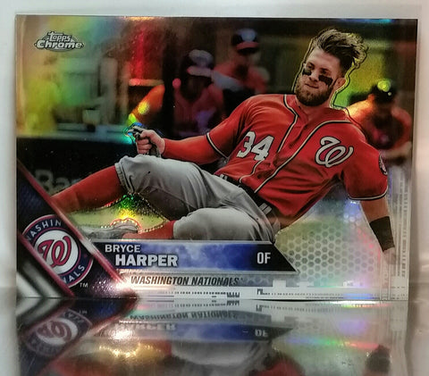 2016 Topps Chrome #200 Bryce Harper Refractor RARE Washington Nationals MVP '15, CardboardandCoins.com