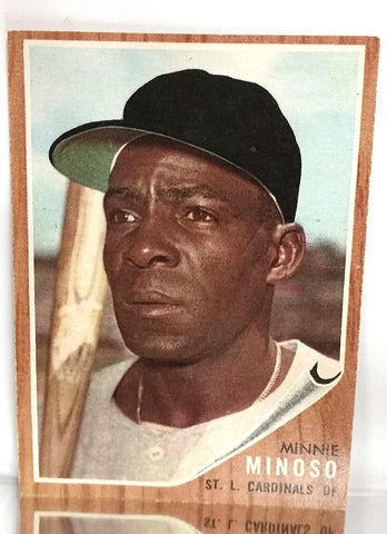 1962 Topps # 28 Minnie Minoso, Outfield, St. Louis Cardinals, NM+, CardboardandCoins.com