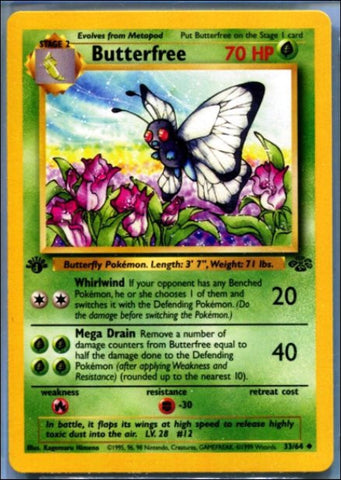 "Butterfree 33//64 Edition ""d"" ERROR - 1st Edition Pokemon Jungle, First Edition - TOUGH FIND !!, CardboardandCoins.com"