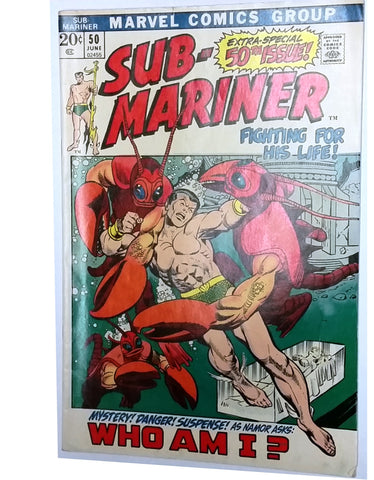 "Sub-Mariner #50, June 1972, Marvel Comics, Special 50th Issue, ""Who am I?"" Namor, Namorita, CardboardandCoins.com"