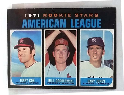 1971 Topps # 559 AL Rookie Stars (Cox, Gogolewski, Jones), Front/Back Centered, EX-NM, CardboardandCoins.com