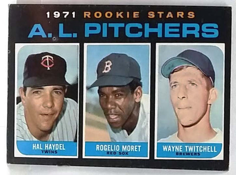 RARE 1971 Topps #692 Short-Print (SP) High # AL Rookie Star Pitchers (Haydel, Moret, Twitchell) VG-EX+