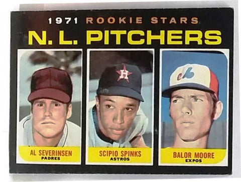 RARE 1971 Topps #747 Short-Print (SP) High # NL Rookie Star Pitchers (Severinson, Spinks, Moore) EX+