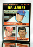 ERA Leaders, National League, NL, Tom Seaver, Wayne Simpson, Luke Walker, Mets, Reds, Pirates, Topps, Baseball Card, 1970, 1971