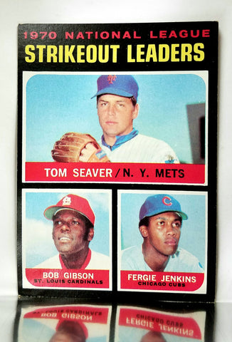 Strikeout Leaders, National League, NL, Tom Seaver, Bob Gibson, Fergie Jenkins, Mets, Cardinals, Cubs, Topps, Baseball Card, 1970, 1971