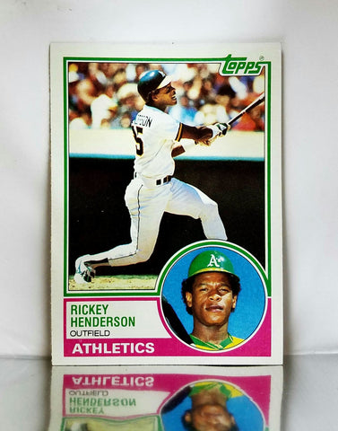 1983 Topps # 180 Rickey Henderson, HOF, All-Time Stolen Base Leader, Oakland Athletics, A's, Graded NM-MT