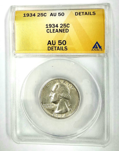 1934 Washington Quarter (SILVER) ANACS AU 50 GRADED + SHINY & SPARKLING COIN!, CardboardandCoins.com