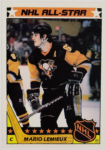 1987 Topps #11 MARIO LEMIEUX 2nd Year!! Early Original Lemieux RARE Sticker Card Insert, Pittsburgh Penguins, All-Star, HOF, Stanley Cup