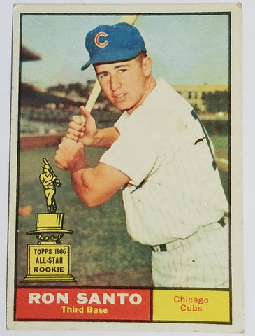 1961 Topps #35 RON SANTO ROOKIE CARD Cubs, HOF  - Excellent Shape - SuperStar!