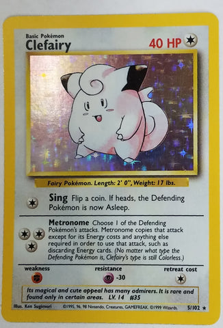 Pokemon CLEFAIRY 5/102 ~ HOLO RARE ~ Unlimited Edition Pokemon Base Set TCG NM, CardboardandCoins.com