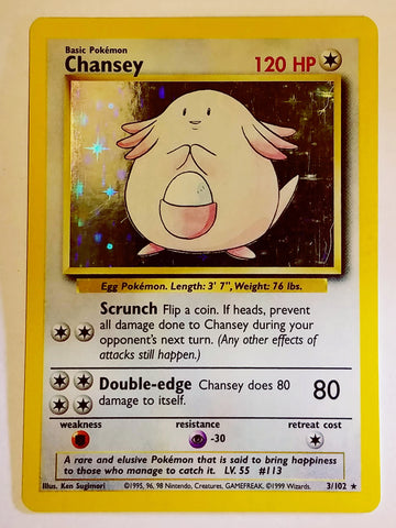 Pokemon CHANSEY 3/102 ~ HOLO RARE ~ Unlimited Edition Pokemon Base Set TCG NM, CardboardandCoins.com
