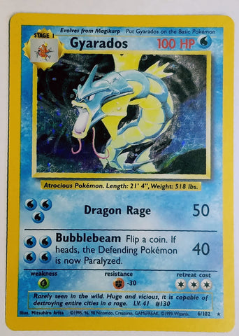 GYARADOS 6/102 HOLO RARE Pokemon Base Set SPARKLING FOIL - HOT! Hard to Find! NM, CardboardandCoins.com