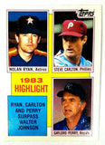 1984 Topps #4 '83 Highlight Ryan/Carlton/Perry Pass Walter Johnson Strikeouts, CardboardandCoins.com