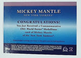 Mickey Mantle 2011 Topps Factory Set Commemorative Medallion 1961 World Series, CardboardandCoins.com