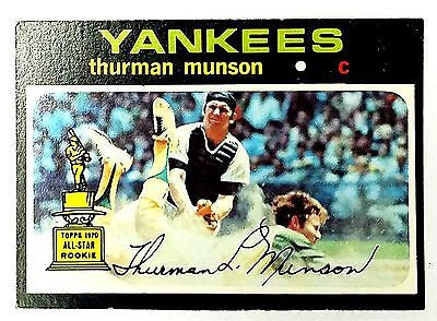 ORIGINAL 1971 Topps #5 Thurman Munson ROOKIE CARD, New York Yankees, ROY, MVP, CardboardandCoins.com