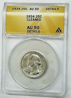 1934 Washington Quarter + SILVER + GRADED ANACS AU 50 + SHINY!!, CardboardandCoins.com