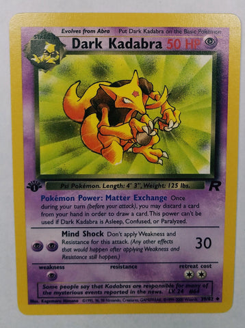 Pokemon 1st Edition DARK KADABRA 39/82 TEAM ROCKET First Edition Set TCG MINT, CardboardandCoins.com