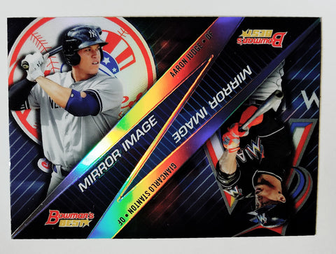 AARON JUDGE ROOKIE CARD WITH STANTON! 2015 Bowman Best Mirror Image #MI-11 HOT!