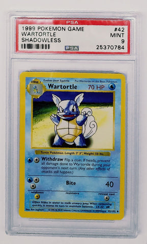 PSA 9 Pokemon Shadowless Wartortle 42/102 Uncommon Base Set Unlimited TCG MINT, CardboardandCoins.com