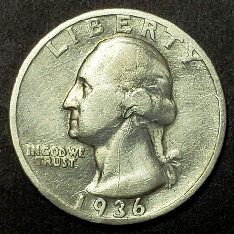 1936-D Silver Washington Quarter Key, Low Mintage Coin, AMAZING Detail