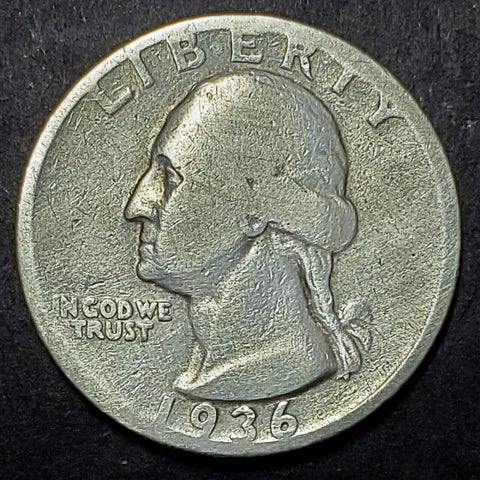 1936-D Silver Washington Quarter Key, Low Mintage Coin, GREAT Detail!