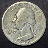 1936-D, 1936, Shiny, Nice Detail, Denver, Silver, Washington, Quarter, Coin, Collectible, Key Date, Hobby, Coins