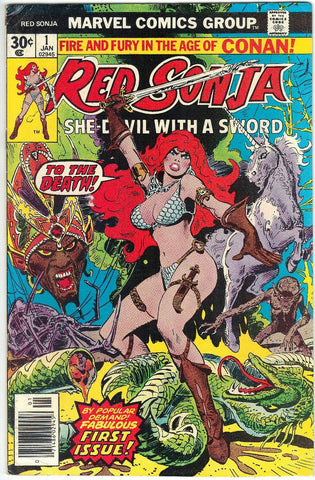 Red Sonja #1 Marvel Comics 1977 Conan Spin-Off, Thome Art, CardboardandCoins.com