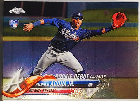 Ronald Acuna Rookie Debut 2018 Topps Chrome Update #HMT31 Braves