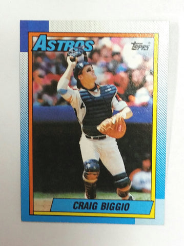 Biggio, Craig, Astros, Houston, HOF, Catcher, Jeff Bagwell, HBP, Hit-by-Pitch, Baseball Cards, Topps, 1990
