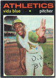 1971 Topps #544 Vida Blue, Pitcher, Oakland Athletics, MVP 1971, CardboardandCoins.com