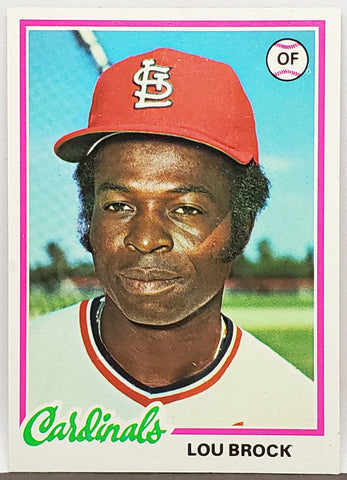 1978 Topps #170 Lou Brock, HOF, Cardinals, Stolen Bases, Set Break