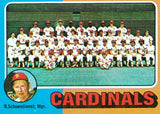 1975 TOPPS MINI #246 CARDINALS TEAM w/RED SCHOENDIENST (DIED 6/2018) SET BREAK!