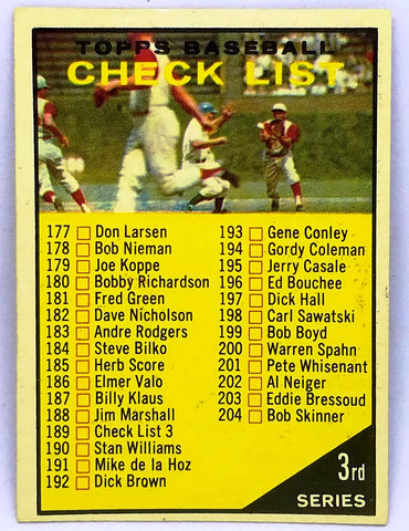 1961 TOPPS #189 3RD SERIES CHECKLIST SET BREAK CARD W/ NAMES: SPAHN, GIBSON, DRYSDALE!