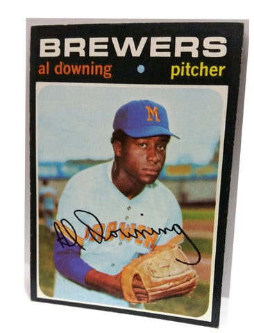 1971 Topps #182 Al Downing, Pitcher, Milwaukee Brewers. The Hank Aaron Pitch!, CardboardandCoins.com